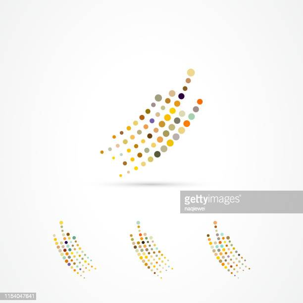 illustrazioni stock, clip art, cartoni animati e icone di tendenza di vector continuous dots pattern icon collection - ricciolo