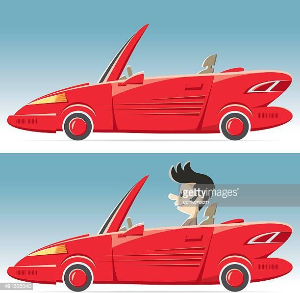 vector convertable car - street racing stock illustrations, clip art, cartoons, & icons