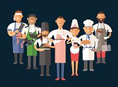Vector cooking chefs people vector illustration