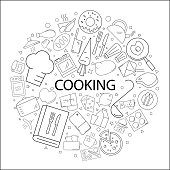 Vector cooking pattern with word. Cooking background