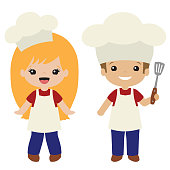 Vector Cookout Grill Cooks Boy and Girl Illustrations