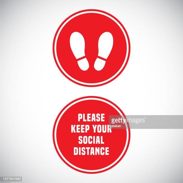 vector coronavirus design concept. keep your social distance foot print warning sign. - shoe print stock illustrations