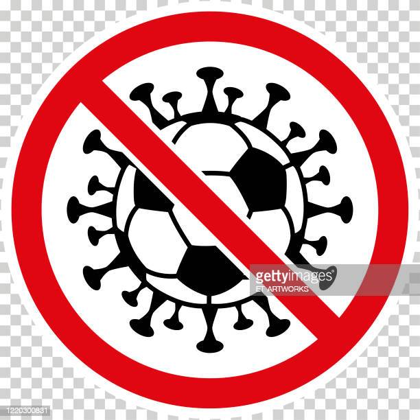 stockillustraties, clipart, cartoons en iconen met het teken van het coronavirus van de vector met voetbalbal - the championship voetbalcompetitie