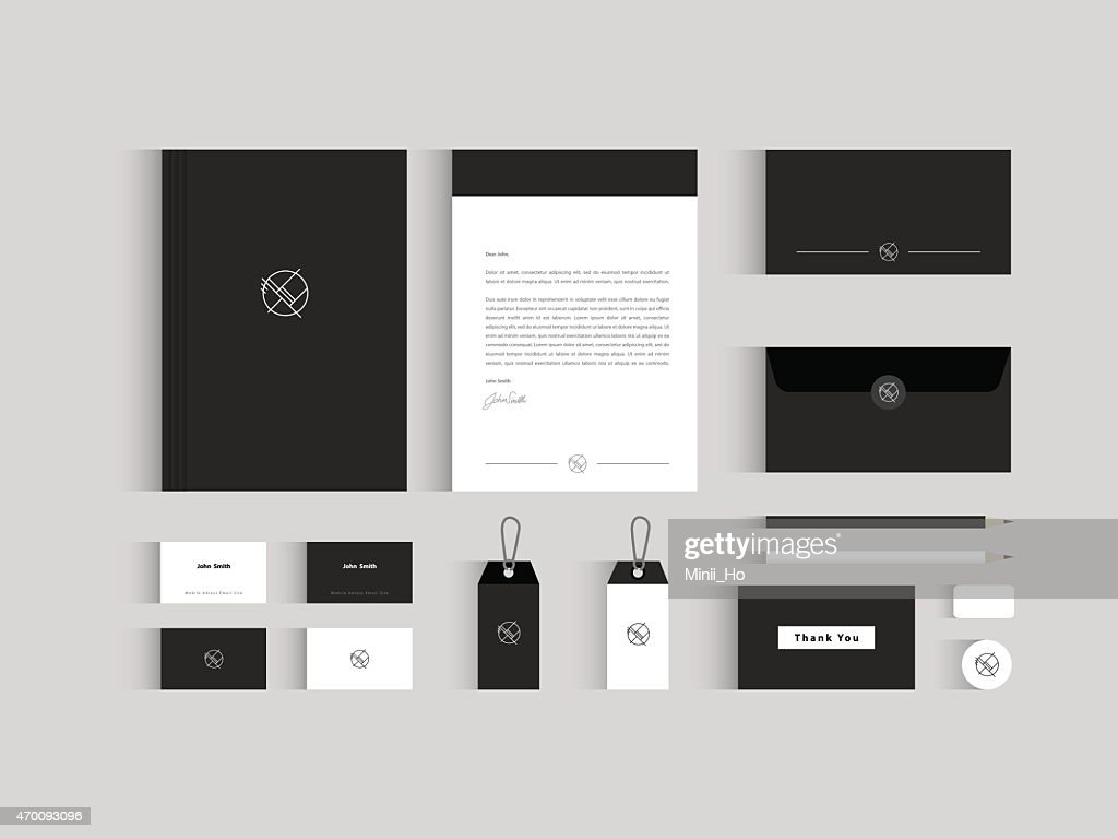 Vector corporate identity mock up. Black and white