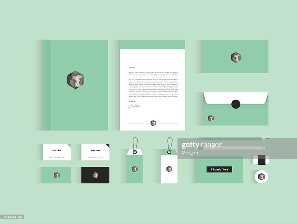 Vector corporate identity mock up. Green and grey color