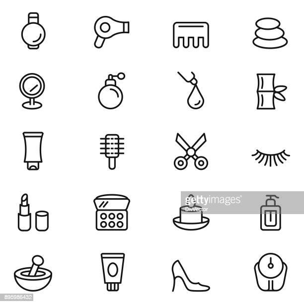 vector cosmetics and beauty icons - high heels stock illustrations, clip art, cartoons, & icons