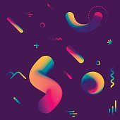 Vector cosmic pattern with geometric fluid shapes on dark background.