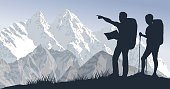 vector couple of travellers in mountains