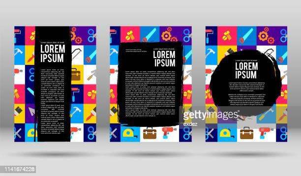 illustrazioni stock, clip art, cartoni animati e icone di tendenza di modelli di progettazione di coperti coperti da copertina vettoriale - arte, cultura e spettacolo