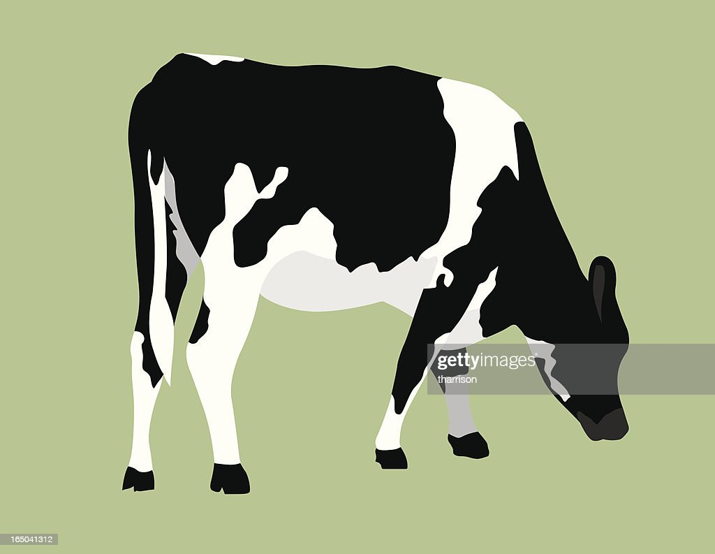 Vector cow on pastel green background