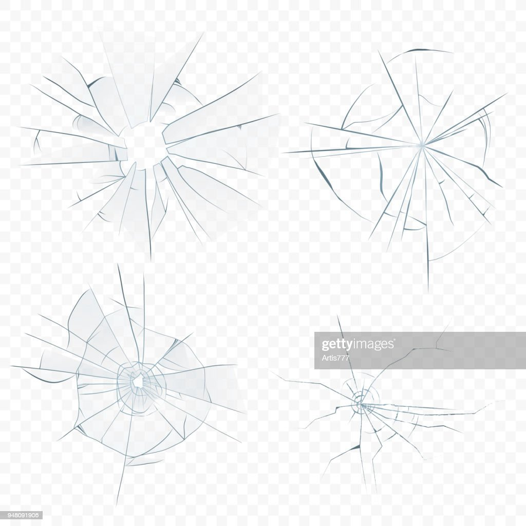 Vector Cracked crushed realistic glass set on the transperant alpha background. Bullet glass hole.