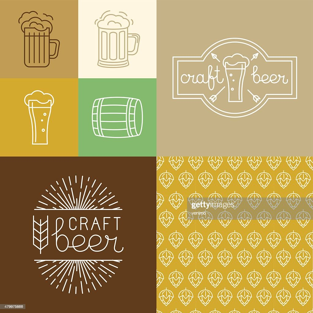 Vector craft beer and brewery logos and design elements