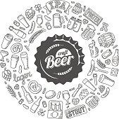 Vector craft beer doodle poster.