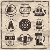 Vector craft beer labels and logos.