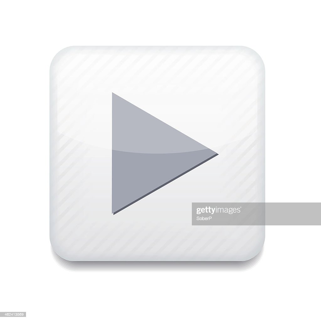 Vector creative app icon of play button with gray triangle