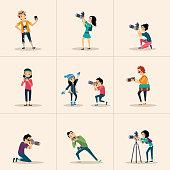 Vector creative character design  posing while photographer taking photos
