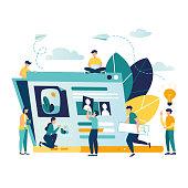 vector creative illustration, online news, social networks, virtual communication, information retrieval, company news, site construction