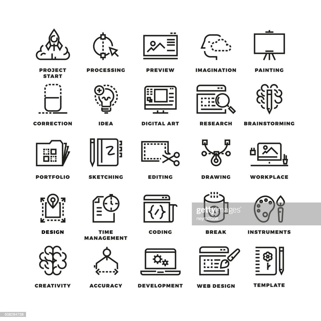 Vector creative process line icons