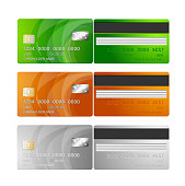 Vector Credit Cards (orange, green, silver)