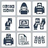 Vector criminal activity icons set