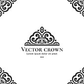 Vector crown emblem. Can be used for jewelry, beauty and fashion industry. Elegant, classic elements.