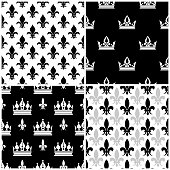 Vector crowns and fleur de lis seamless patterns set in