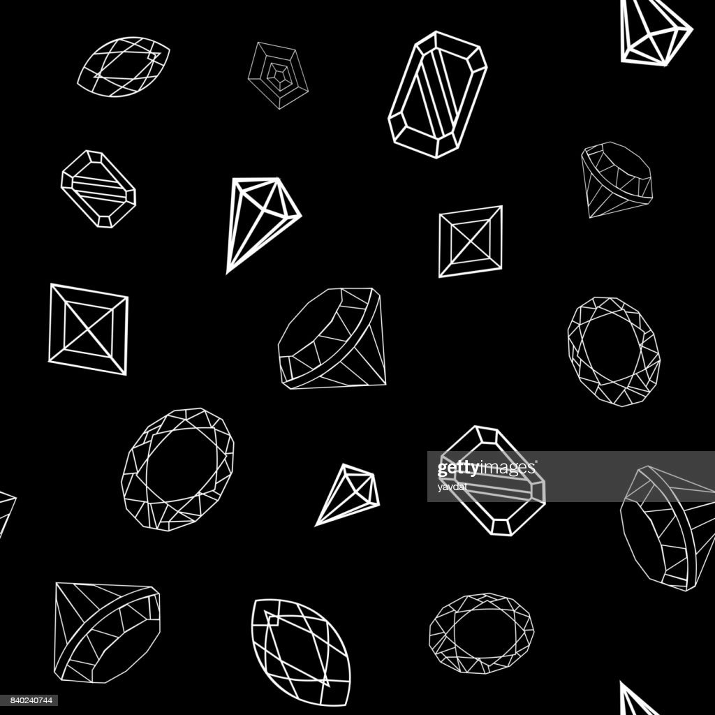 vector crystal diamond black and white hand drawn seamless background