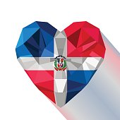 Vector crystal gem jewelry Dominican heart with the flag of The Dominican Republic.