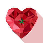 Vector crystal gem Moroccan heart with the flag of the Kingdom of Morocco.
