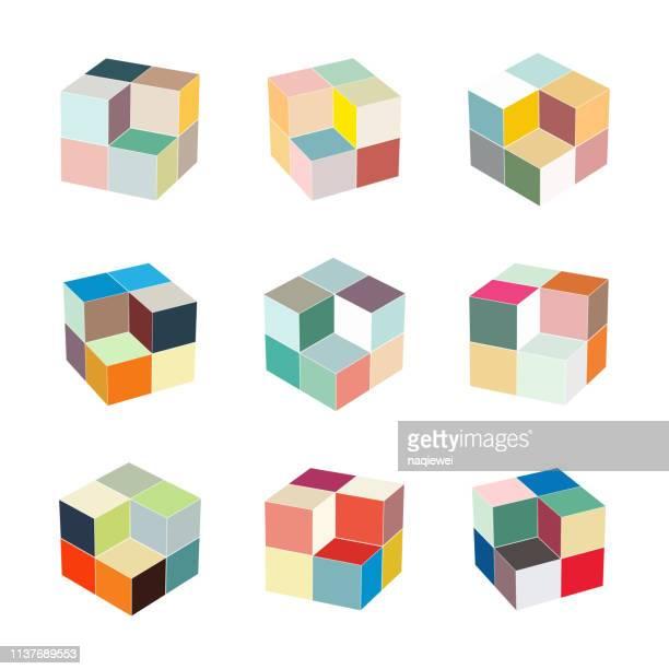 stockillustraties, clipart, cartoons en iconen met vector kubus model patroon symbool voorontwerp - kubus