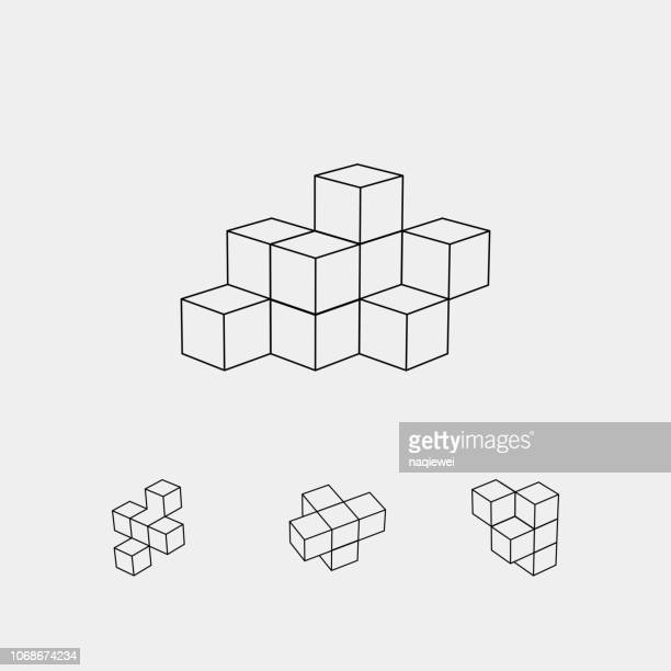 vector cube pattern - square composition stock illustrations