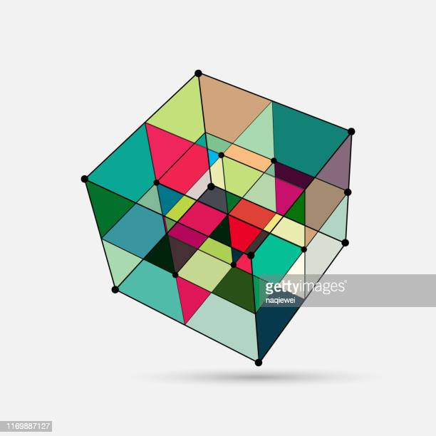 vector cube structure pattern - point of view stock illustrations