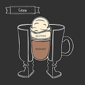 Vector cup of coffee Glace. Infographic cup in a cut