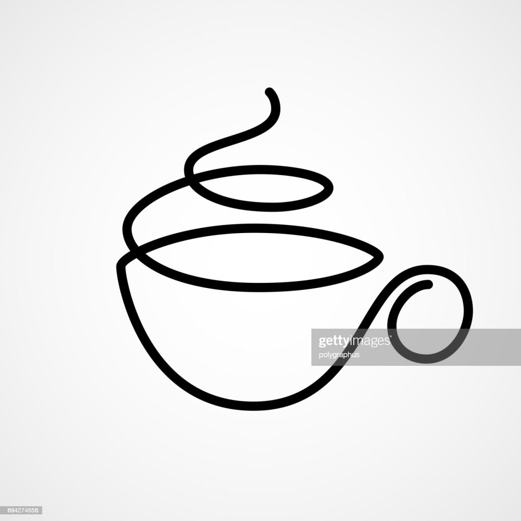 Vector cup of tea or coffee drawn by single continuous line