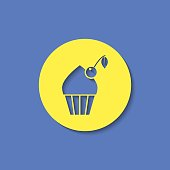 Vector cupcake with cherry icon. Food icon. Eps10