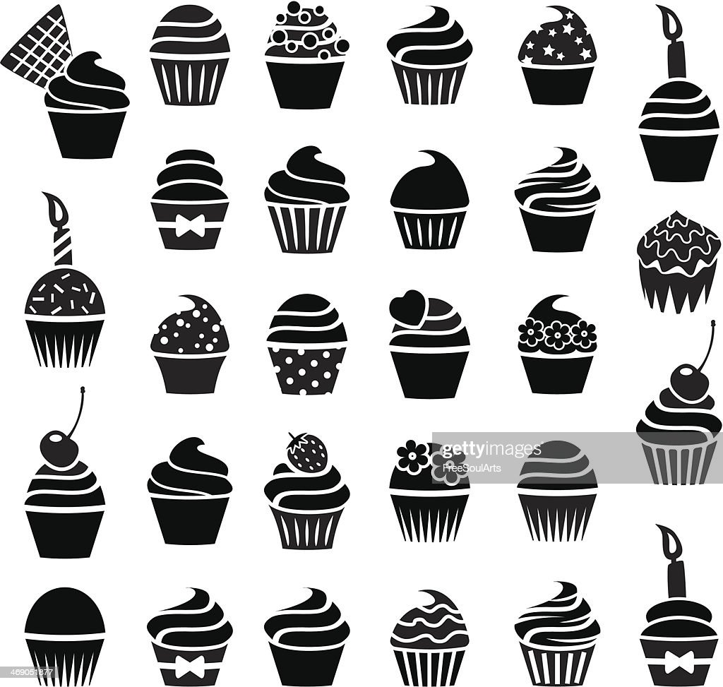vector cupcakes icons