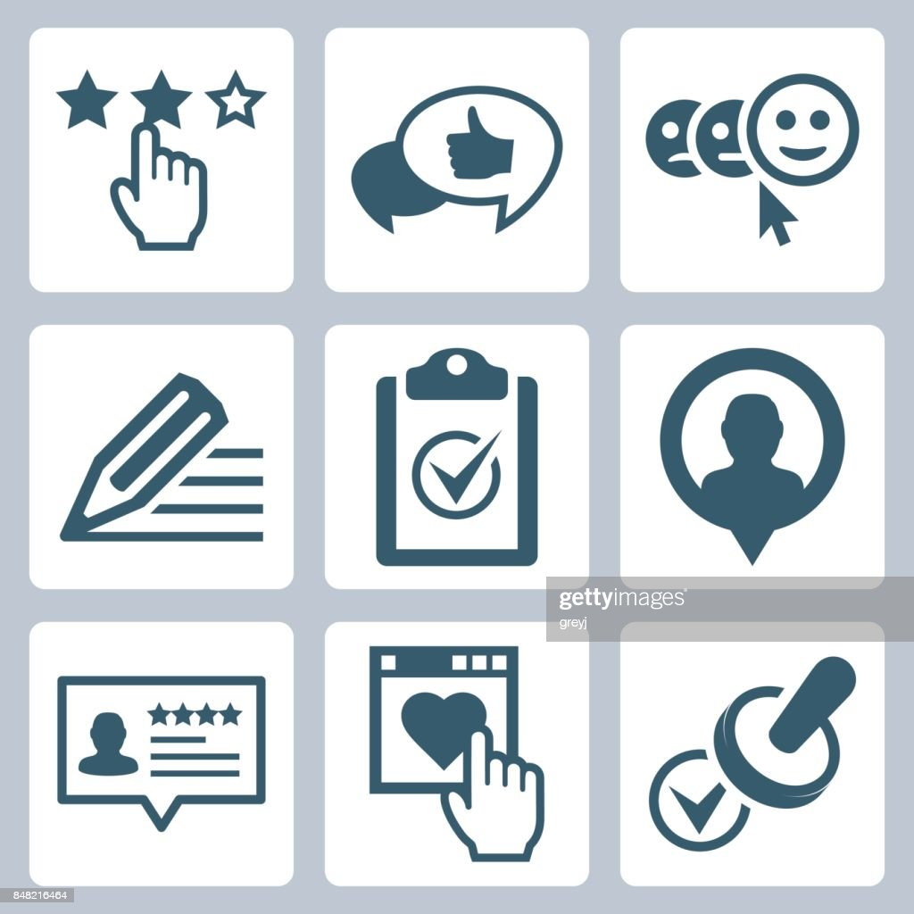 Vector customer testimonials icon set