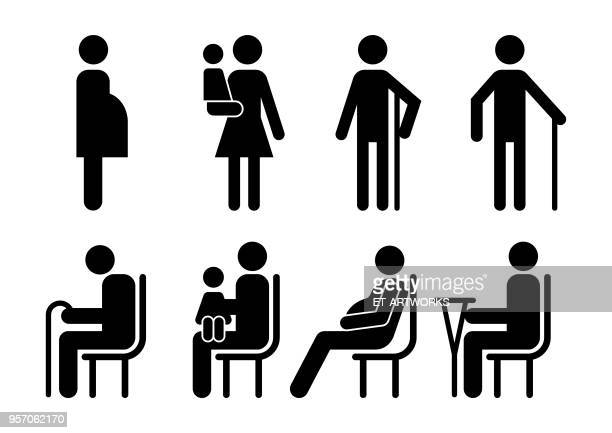 vector customers icons - mature adult stock illustrations