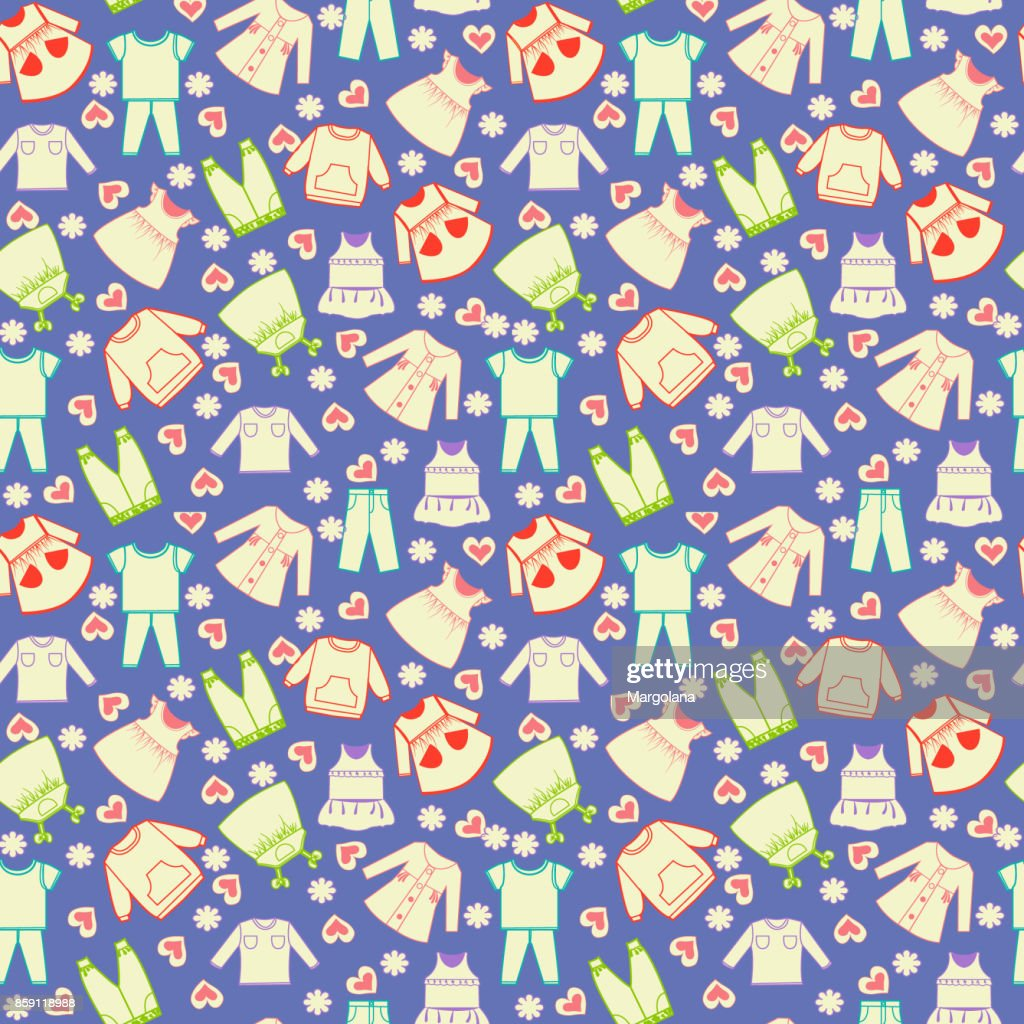 Vector cute background collection of baby and children clothes.