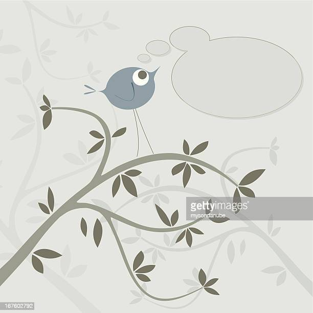 vector cute bird on tree branch background - plant attribute stock illustrations, clip art, cartoons, & icons