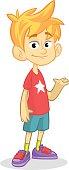 Vector cute blonde boy presenting. Teenager smiling and waving
