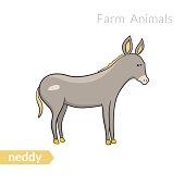 Vector cute cartoon donkey isolated background