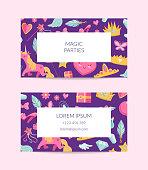 Vector cute cartoon magic and fairytale business card template