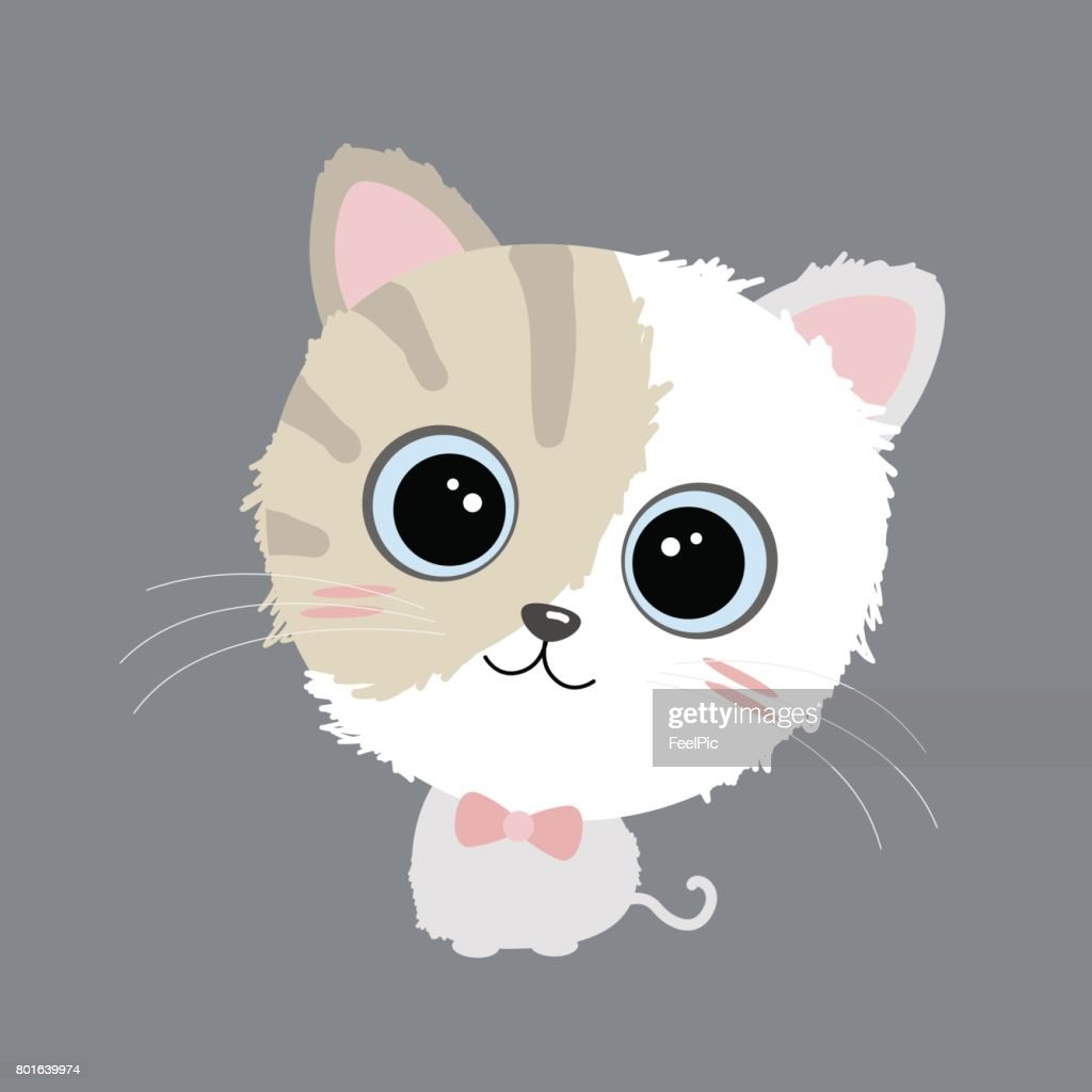 Vector cute cat design on gray background
