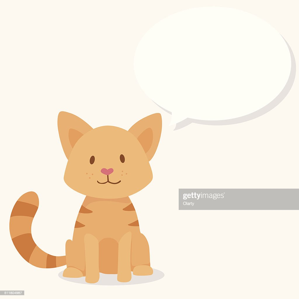 Vector cute happy red cat with text cloud