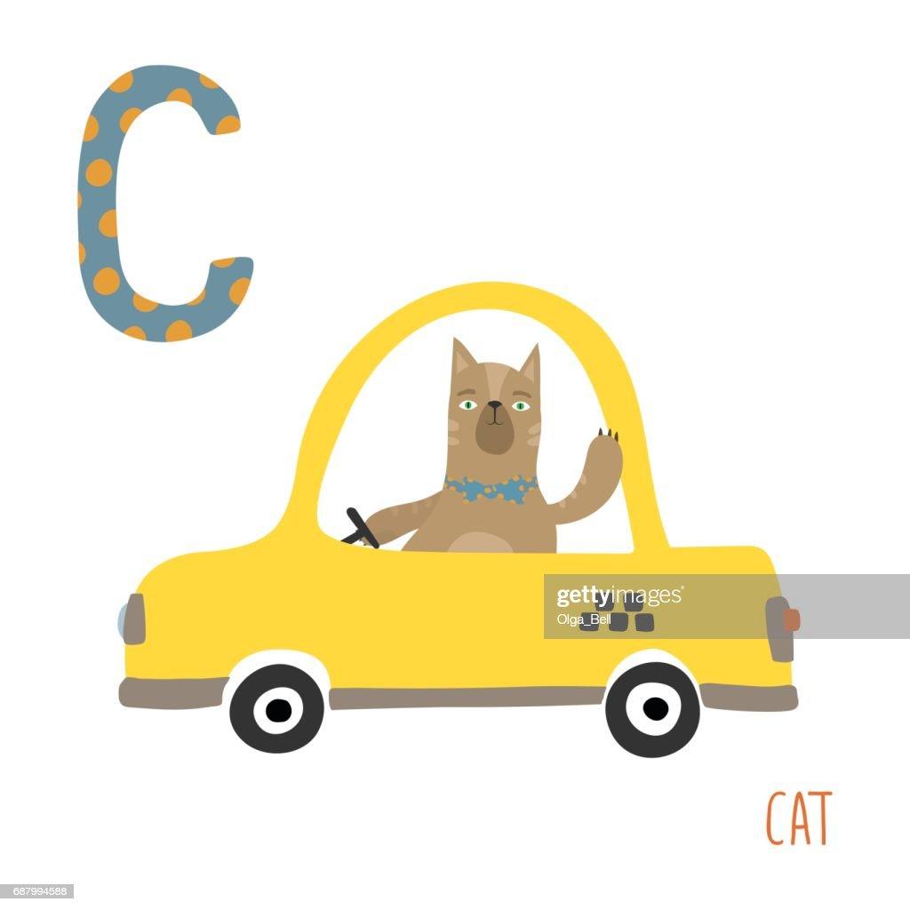 Vector cute kids animal alphabet. Letter C for the Cat