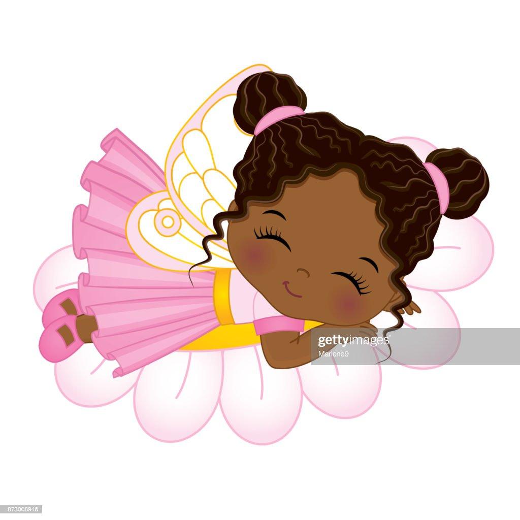 Vector Cute Little African American Fairy Sleeping on Flower