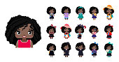 Vector cute little African American girls