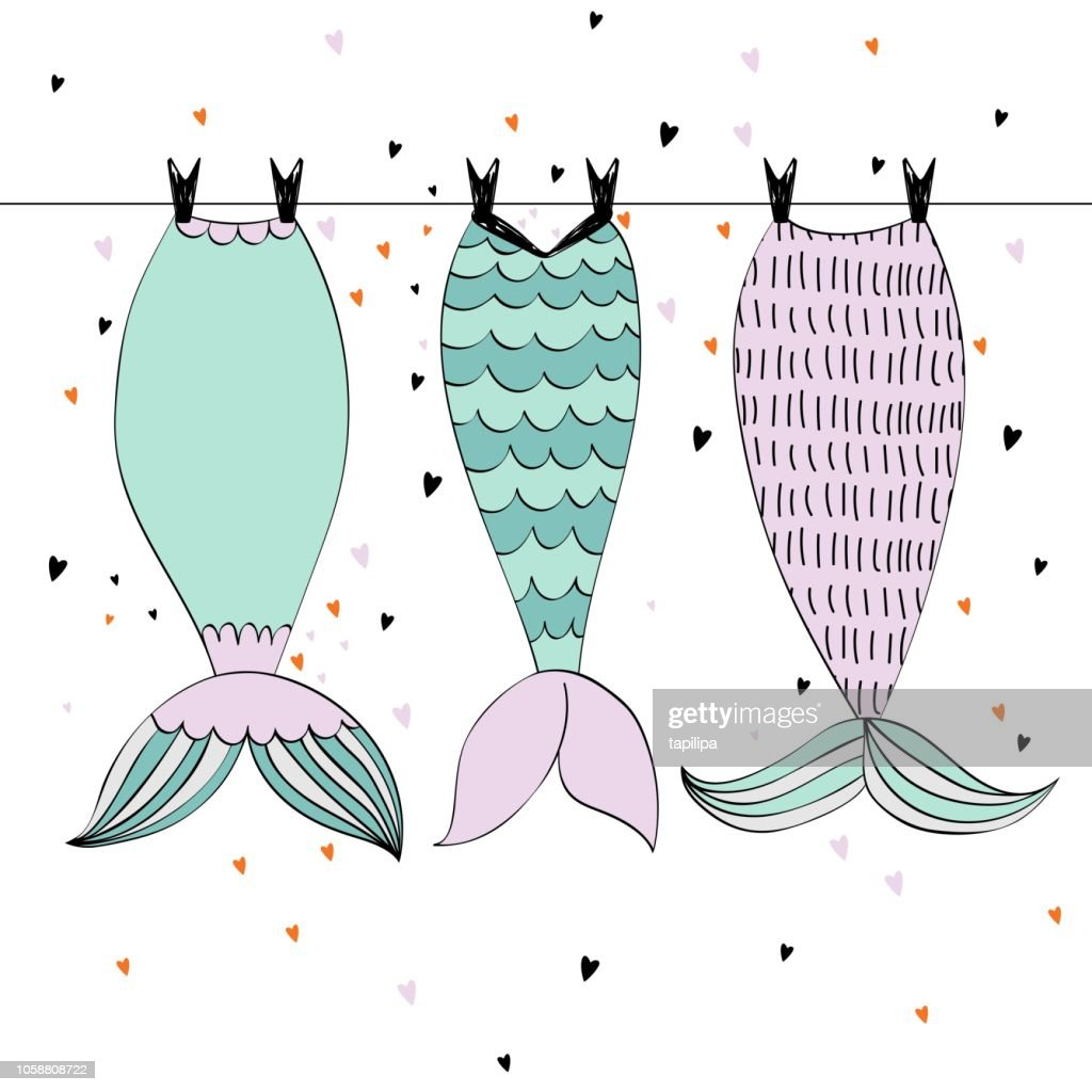 Vector cute mermaids