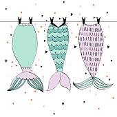 Vector cute mermaids